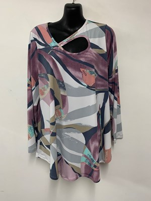 Printed Soft Knit Long Sleeve Top in LILAC PRINT