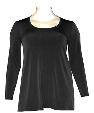 BLACK - Soft knit long sleeve tunic
