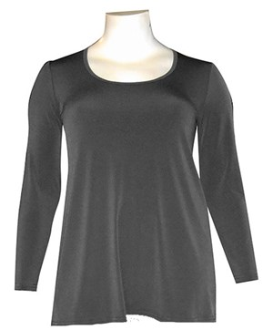 CHARCOAL - Soft knit long sleeve tunic