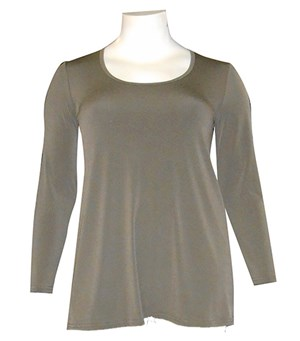 KHAKI - Soft knit long sleeve tunic