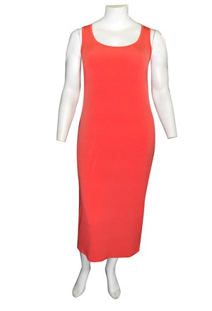 Roxanne Sleeveless Soft Knit Maxi Dress - Coral