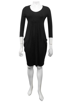 SIZES 10-18 ONLY - Charlotte plain silky knit cowl pocket dress
