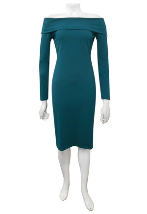 TEAL - Wendy scuba dress with zip detail