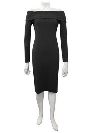 BLACK - Wendy scuba dress with zip detail