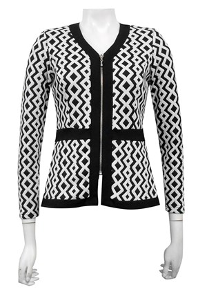 Grace print knit jacket with centre front zip detail