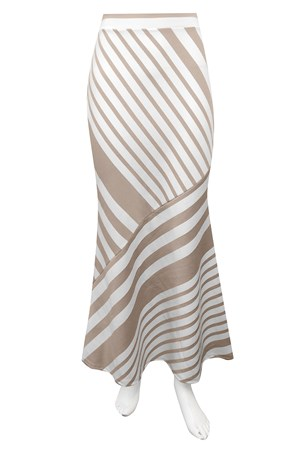 BEIGE STRIPE - Pam long ponti stripe skirt