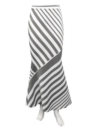 GREY STRIPE - Pam long ponti stripe skirt