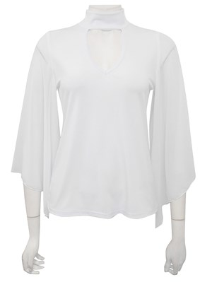 WHITE - Betty high neck top with detail sleeves