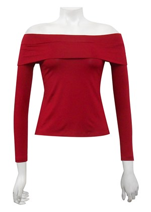 RED - Jordan silky knit fold down tee
