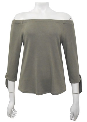 KHAKI - Laura elastic off the shoulder 3/4 sleeve top