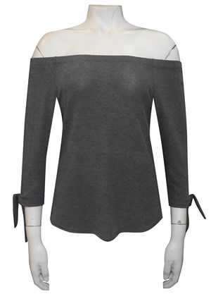 GREY - Laura off the shoulder 3/4 sleeve top