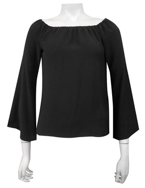COMING AGAIN SOON - BLACK - Sophie plain off the shoulder top