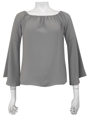 COMING AGAIN SOON - KHAKI - Sophie plain off the shoulder top