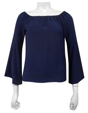 COMING AGAIN SOON - NAVY - Sophie plain off the shoulder top