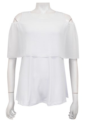 WHITE - Josie soft knit and chiffon off the shoulder singlet