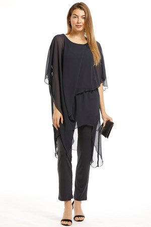 Tilly Chiffon Overlay Jumpsuit - Black