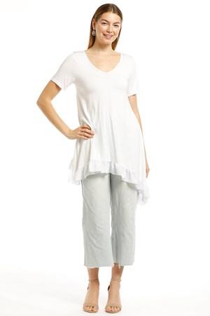 Karly SIlky knit Ruffle Hem Top- White