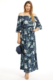 Kelsea Frill Maxi Dress - Blue Floral