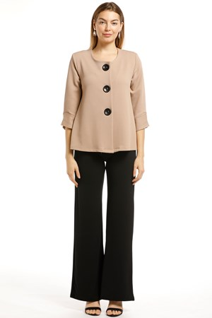 Emma Textured Stretch Knit Jacket - Beige