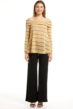 Piper Stripe Knit Top- Mustard