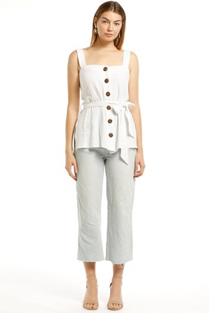 Paula Linen Button Through Singlet With Tie Detail
