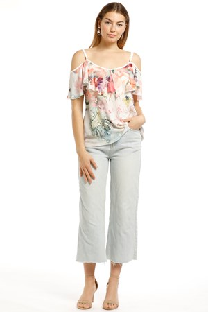 Abby Frill Chiffon Top - Floral