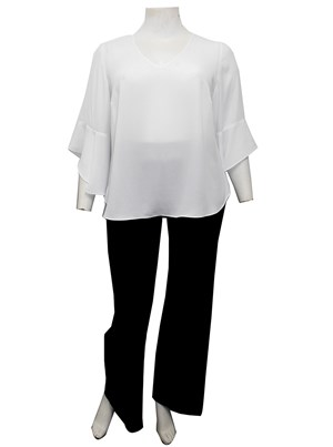 WHITE - Hannah V neck top with uneven frill sleeves