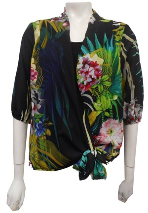 Print Chiffon Blouse with Tie and Soft Knit underneath