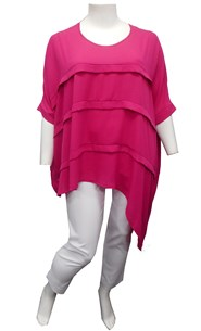 RTM 2476 Chiffon layered top in HOT PINK also available in: LIME, WHITE, BLACK