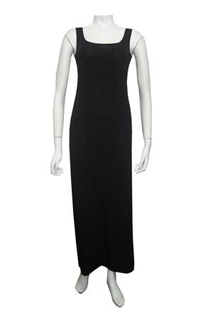 BLACK - Soft knit thick strap maxi dress