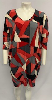 Lola High Low Dress red/char/blk