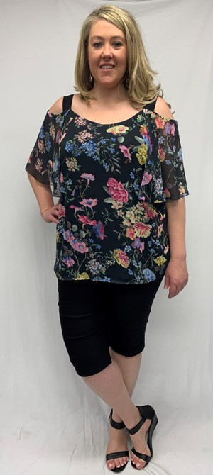 Macey Chiffon Print Top With Contrast Straps - Floral