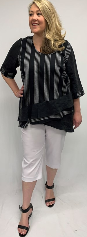 Katie Linen Stripe Top
